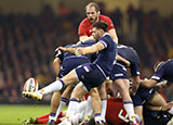 Ali Price kicks from the scrum during the Wales v Scotland match in 2018 Six Nations