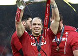 Alun Wyn Jones with the Six Nations trophy after 2019 Wales v Ireland match
