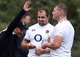 Ben Moon with Eddie Jones and Dylan Hartley during England training session