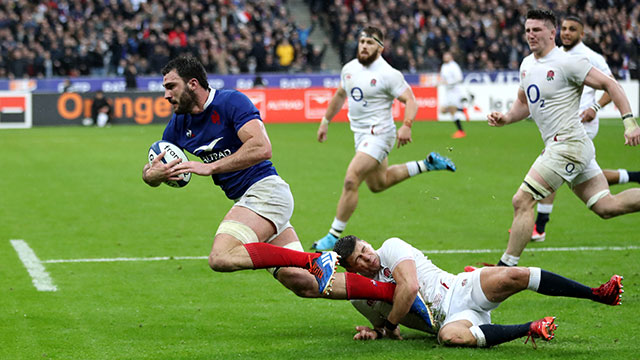 Charles Ollivon dives in to score a try for France v England in 2020 Six Nations