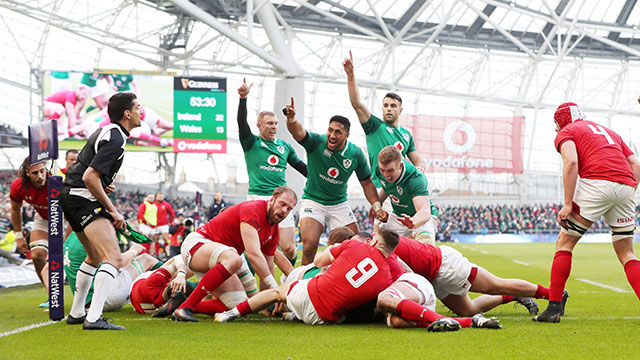 Cian Healy scores Ireland's fourth try against Wales