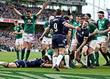 Conor Murray scores Ireland's third try against Scotland