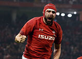 Cory Hill celebrates scoring a try for Wales v England in 2019 Six Nations