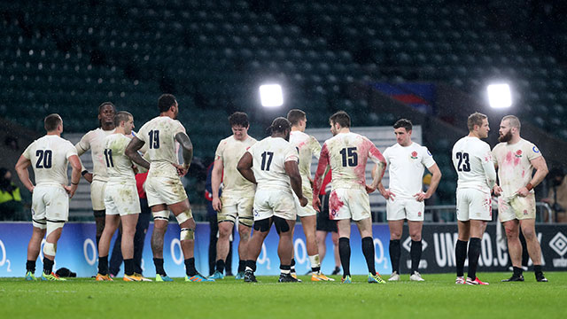 England players after defeat to Scotland in 2021 Six Nations
