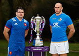 France and Italy captains next to Six Nations trophy