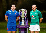 Guilhem Guirado and Rory Best with Six Nations trophy