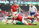 Hadleigh Parkes scores a try for Wales v Ireland in 2019 Six Nations