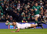 Henry Slade scores his second try for England v Ireland in Six Nations
