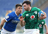Hugo Keenan breaks away to score a try for Ireland against Italy in 2021 Six Nations