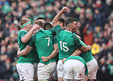 Ireland players celebratre try against Wales in Six Nations