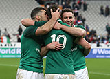 Ireland players leapt on Johnny Sexton to celebrate their last gasp win over France