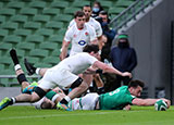 Jack Conan scores a try for Ireland v England during 2021 Six Nations