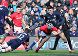 Jonathan Davies dives in to score Wales' second try against Scotland in 2019 Six Nations
