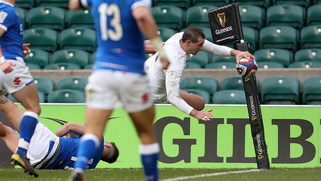 Jonny May scores a spectacular diving try for England v Italy in 2021 Six Nations