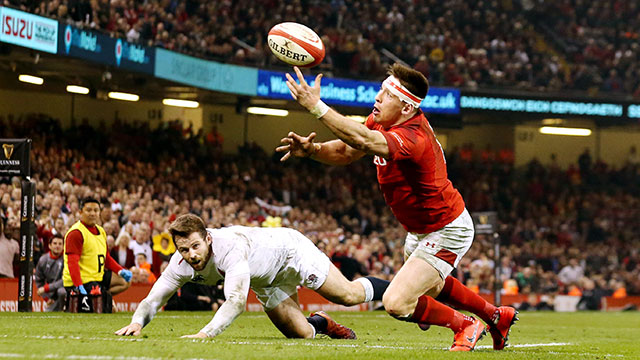 Josh Adams juggles the ball before scoring against England in 2019 Six Nations