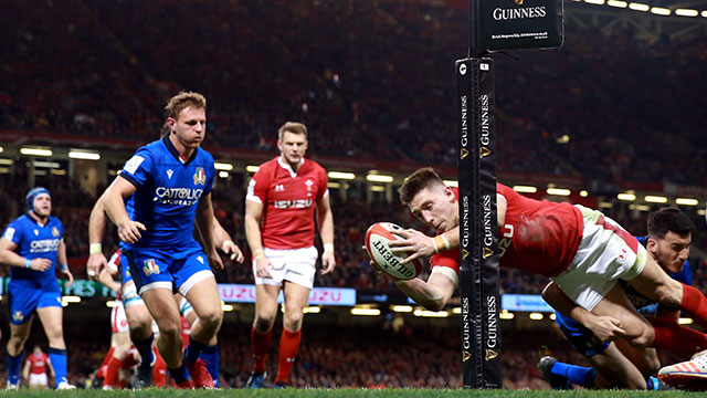 Josh Adams scored a hat trick for Wales v Italy in 2020 Six Nations