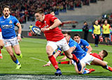 Josh Adams scores Wales' first try against Italy in 2019 Six Nations