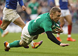 Keith Earls dives in to score Ireland's fourth try against France in 2019 Six Nations