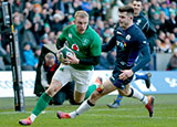 Keith Earls scores Ireland's third try against Scotland in 2019 Six Nations