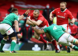 Ken Owens is tackled by Tadhg Beirne during Ireland v Wales match in 2021 Six Nations
