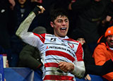 Louis Rees-Zammit in action for Gloucester Rugby v Montpellier in Heineken Champions Cup