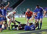 Maro Itoje scores a try for England v France in 2021 Six Nations