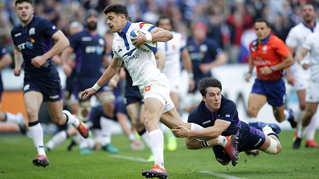 Romain Ntamack scores a try for France v Scotland in 2019 Six Nations