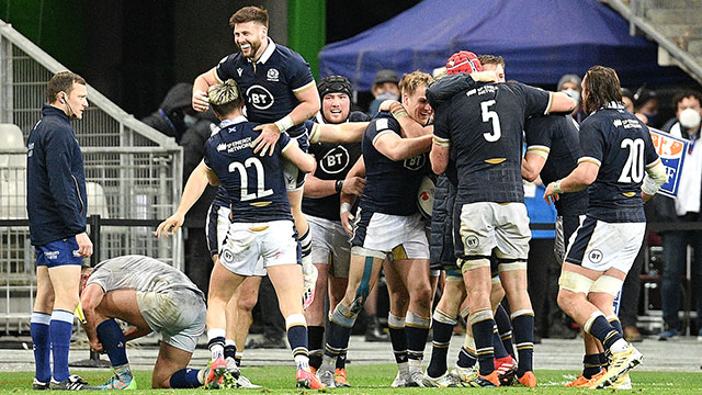Scotland players celebrate victory over France in 2021 Six Nations