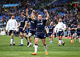 Scotland players celebrate victory over Italy in Six Nations