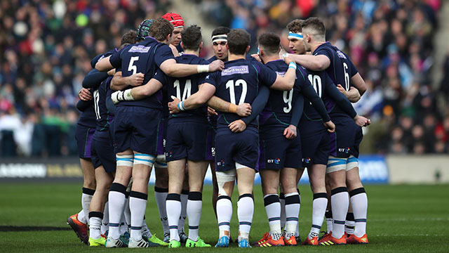 Scotland players in a huddle before match against Wales in 2019 Six Nations