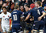 Sean Maitland celebrates scoring Scotland's second try against England