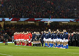 Wales and Italy line up before match in 2018 Six Nations