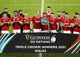Wales celebrate a Triple Crown following victory over England in 2021 Six Nations