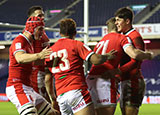 Wales celebrate a try against Scotland during 2021 Six Nations