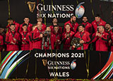 Wales celebrate winning the 2021 Six Nations Championship