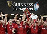 Wales players celebrate winning the Grand Slam in 2019 Six Nations
