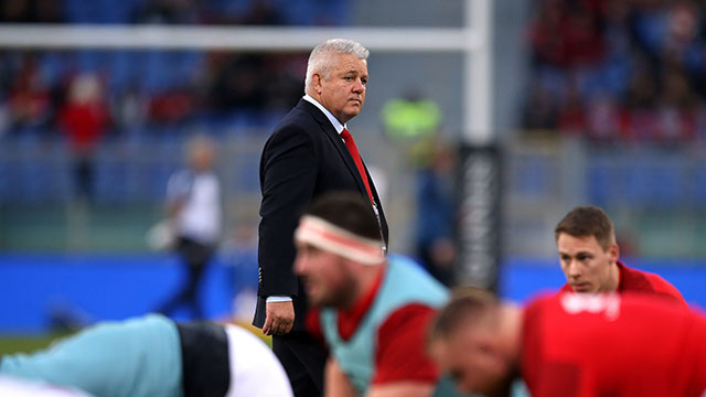 Warren Gatland watches his players warm up before Italy v Wales match in 2019 Six Nations