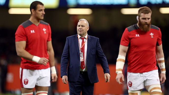 Wayne Pivac with players during Wales v Barbarians 2019 match
